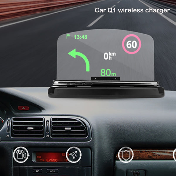Qi Wireless Car Charger Smartphone Projector HUD Head Up Display Holder Car GPS Navigator Car Mount High Definition Reflect (Black)