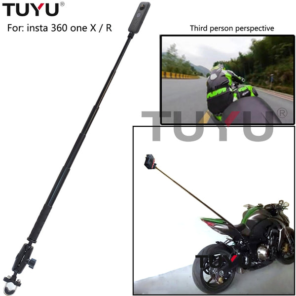 TUYU Motorcycle Bike Camera Holder Handlebar Mirror Mount Bracket Stand For Insta360 One R Invisible Selfie Stick Accessory