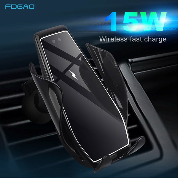15W Wireless Car Charger Infrared Sensor Auto Clamping Qi Fast Charging Car Mount Holder for iPhone 11 XS XR X 8 Samsung S20 S10