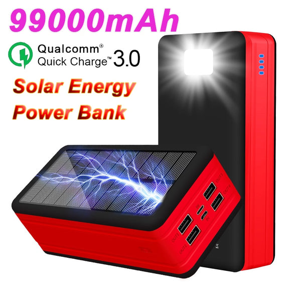 99000mAh Solar Power Bank LED Powerbank Outdoor Waterproof Poverbank for Iphone Samsung Xiaomi Large Capacity Portable Charger