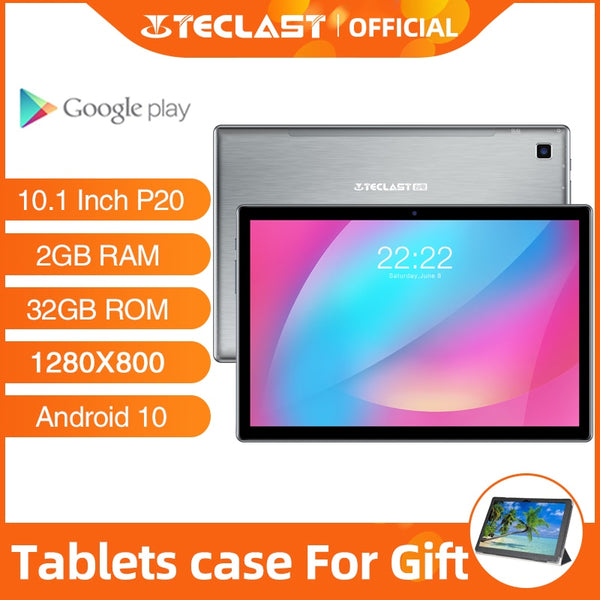 Tablets Android 10.0 OS Teclast P20 10.1 Inch 2GB RAM 32GB ROM 1280×800 6000mAh Battary Octa Core AI Speed-up