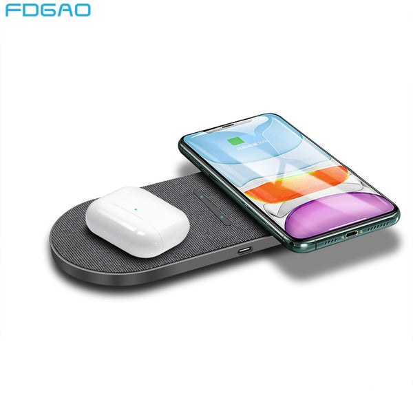 FDGAO 20W Dual Wireless Charger Pad Double Qi 2 in 1 Fast Charging Pad for AirPods Pro iPhone SE2 11 XS Max XR 8 Samsung S20 S10