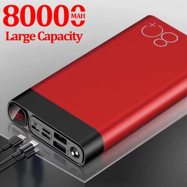 80000mAh Power Bank Large Capacity Quick Charge 2 USB Fast Charging for IPhone Xiaomi Samsung Portable Powerbank