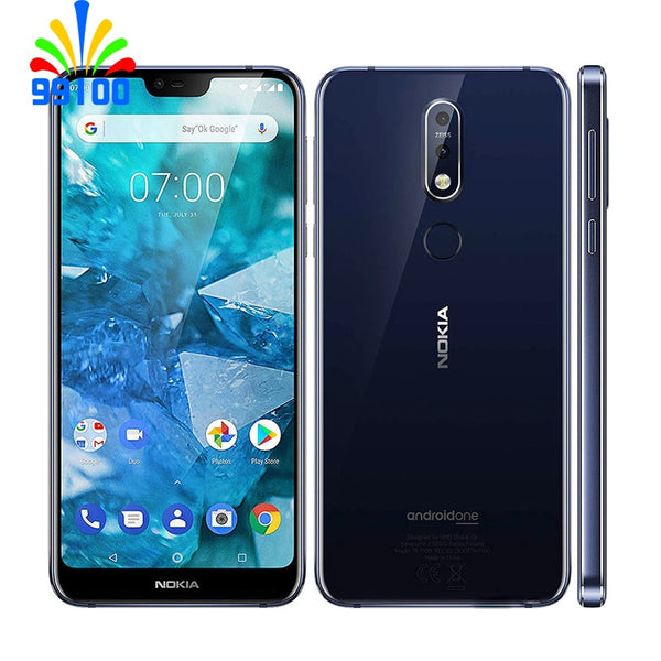 Unlocked Original Nokia 7.1 Qualcomm636 single SIM 5.84inch Screen 3GB+32GB 12.0MP+5MP Dual back Camera Fingerprint 4G-LTE
