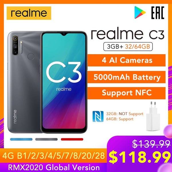 realme C3 Global Version 3GB RAM 32GB/64GB ROM 5000mAh Battery Helio G70 AI Processor 12MP+2MP+2MP AI 3 Rear Cameras Play Store