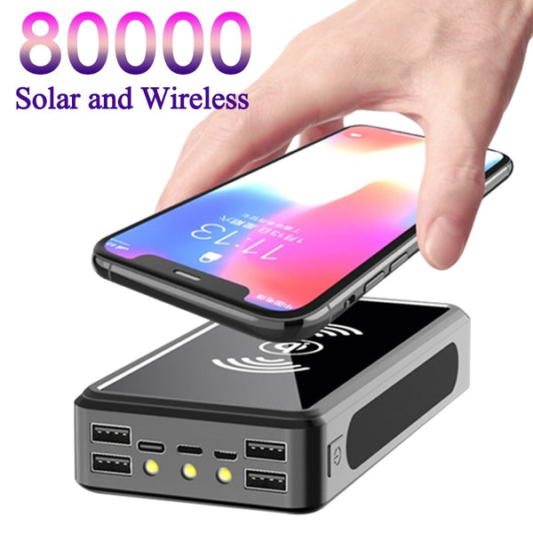 80000mAh Qi Wireless Solar Power Bank Portable Phone Fast Charging External USB Charger Travel Outdoor Camping Lights Powerbank