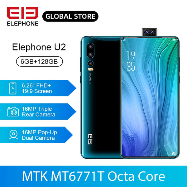 ELEPHONE U2 Smartphone Helio P70 Octa Core 64GB 128GB 16MP Pop-up Front Camera 6.26