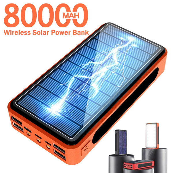 80000mAh Wireless Solar Power Bank Portable Phone Fast Charging External Charger PowerBank 4 USB LED Lighting for Xiaomi iphone