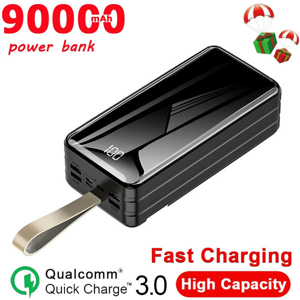 90000 MAh Power Bank Portable Charger  Large Capacity Outdoor Travel Emergency Power Bank 4USB Port for Samsung Xiaomi IPhone