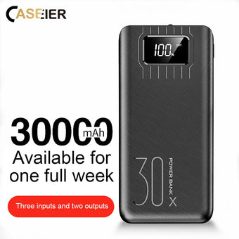 CASEIER Power Bank For 30000mAh Powerbank For Mobile Phone External Battery Large Capacity Digital Display With Light Banking