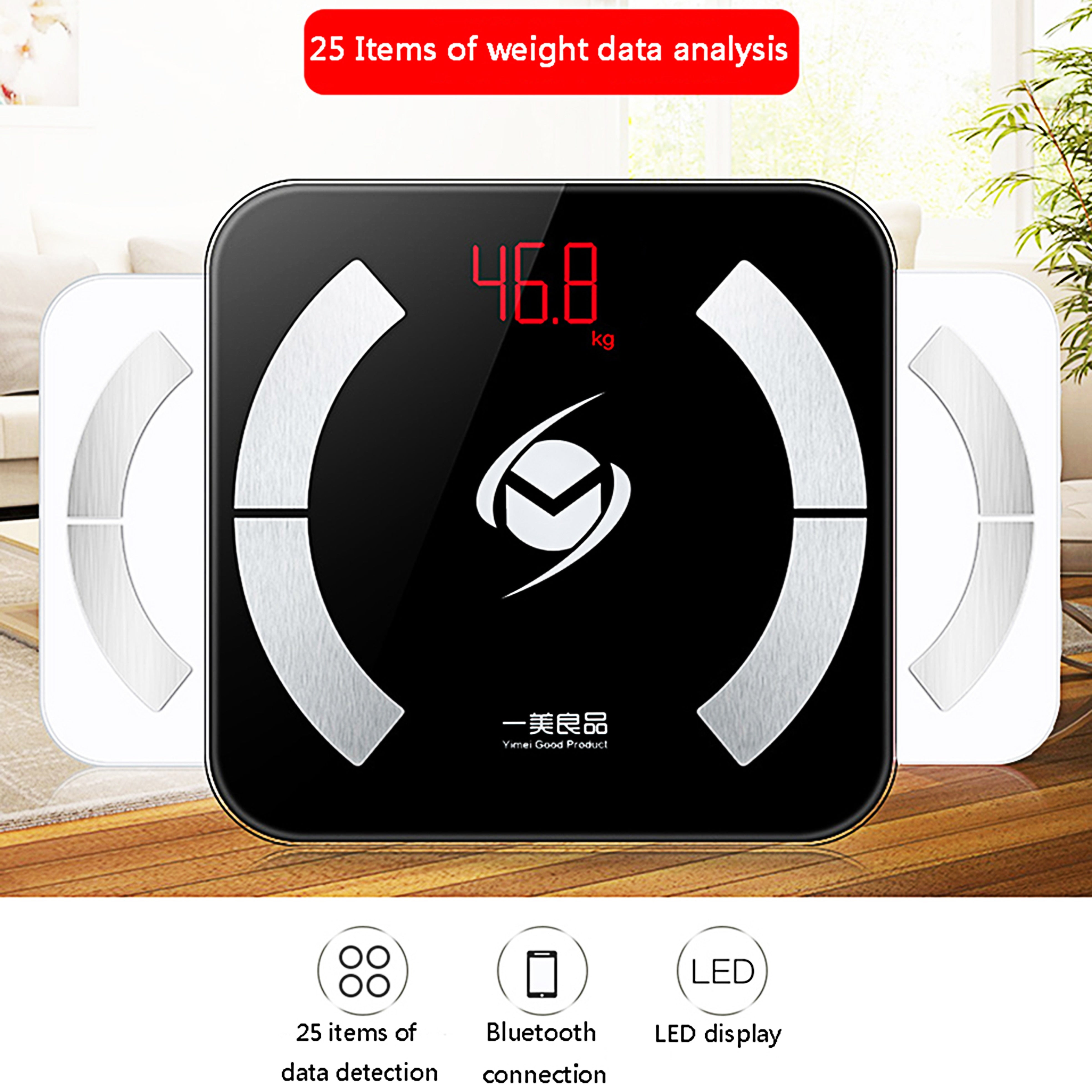Yimei black weight scale body fat scale intelligent BMI body composition scale LED digital Bluetooth scale for sports inspection
