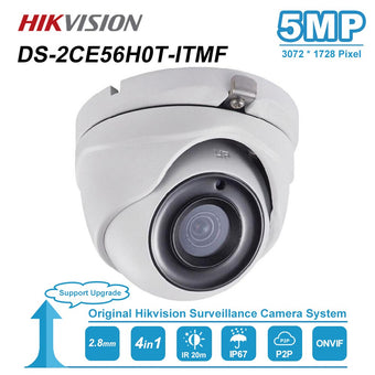 Hikvision Original DS-2CE56H0T-ITMF 5MP Fixed Lens Analog Turret Camera Home/Outdoor Security 4in1 Video Output IP67 IR 20m DWDR