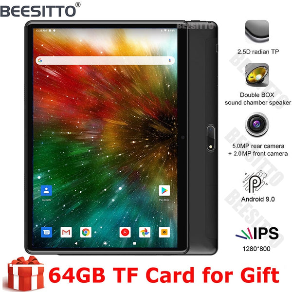 Android Tablet 10 Inch 3G Phablet Android 9.0 GMS Certified Dual SIM Card Slots and Cameras 32GB Bluetooth 2.4G WiFi GPS OTG