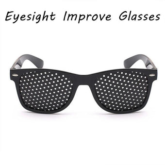 PCS Vision Care Exercise Eye Eyesight Improve Glasses Eyeglasses Eyewear Black Unisex Pinholes Glasses Vision Caresunglasses (Black)