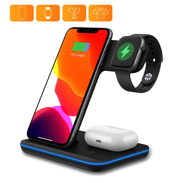 DataRoad 2020 New Mobile Wireless Phone Charger 3 in 1 Wireless Desktop Charger Station For Earphones and Smartwatch (Black)