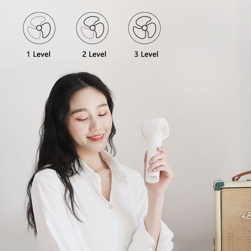 Youpin Handheld Leafless Fan Rechargeable Portable Mini Ventilator Handheld Bladeless Fan Travel Cooler Cooling Cool Air Fans