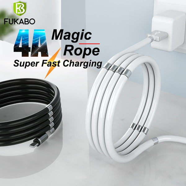 Magic Rope USB-C Magnetic Cable Type C USB Cable 4A Phone Fast Charging Data Sync Cord For Samsung A51 S10 S20 Charging Cable
