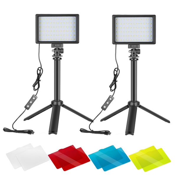 Neewer 2 Packs Portable Photography Lighting Kit Dimmable 5600K USB 66 LED Video Light with Mini Adjustable Tripod Stand