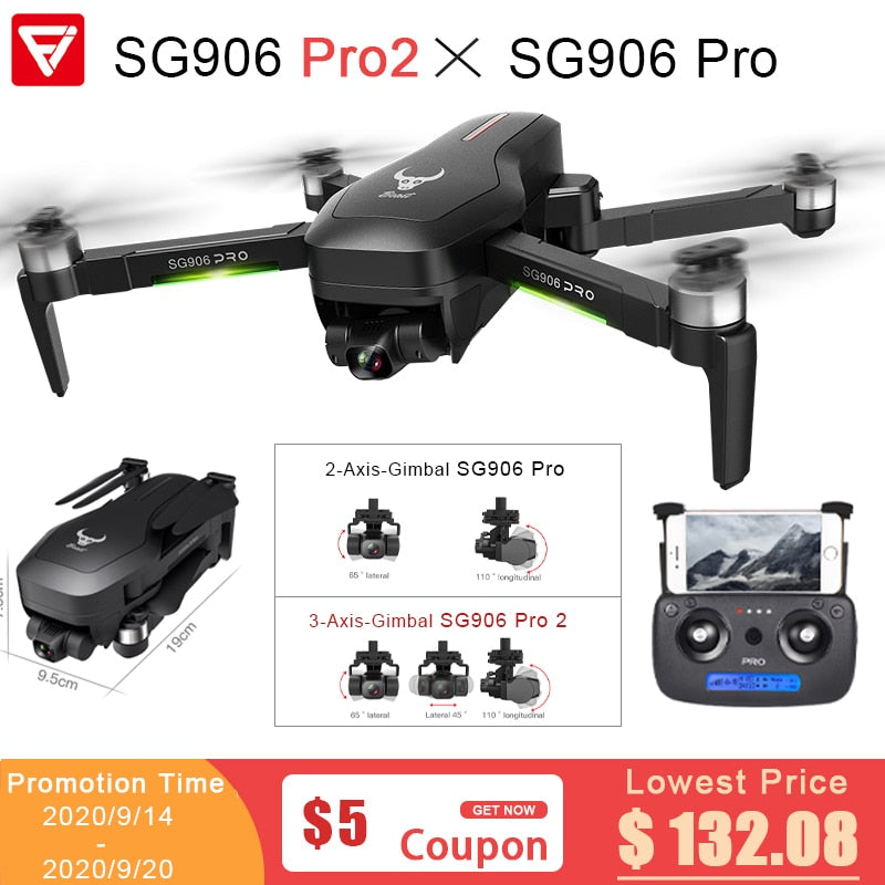 Drone SG906 PRO PRO2 Beast 2 GPS 3-Axis Gimbal 4K FPV 5G WIFI Dual Camera Professional 50X Zoom Brushless Quadcopter Dron VS F11