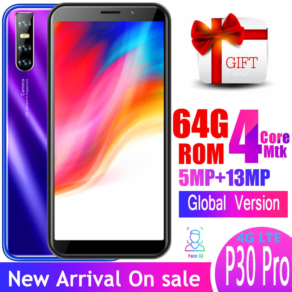 P30 pro 4G LTE 6.0INCH quad core smartphones 4GB RAM 64GB ROM 13MP 18:9 Android mobile phones face ID unlocked celulares wifi