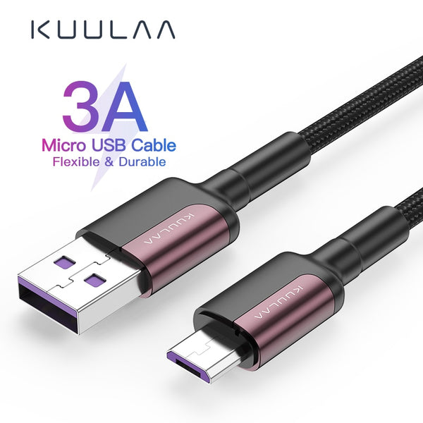 KUULAA Micro USB Cable 3A Nylon Fast Charge USB Data Cable for Samsung Xiaomi LG Tablet Android Mobile Phone USB Charging Cord