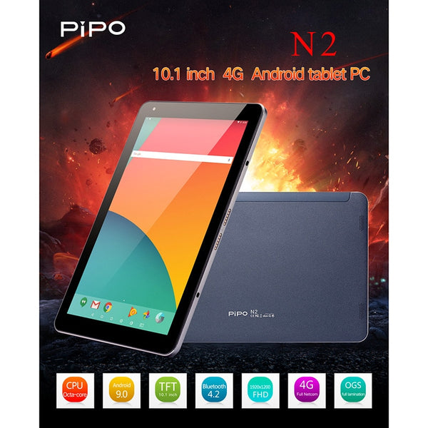 Pipo N2 10.1 Inch 1200X1920 4G Phone Call Tablet PC Android 9.0 4G RAM 64G ROM SC9863A Octa Core Bluetooth WIFI 13MP Camera (Black)