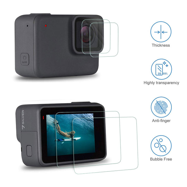 Tempered Glass Lens LCD Screen Protection for Go Pro Gopro Hero 5 6 7 8 Hero5 Hero 6 Hero7 Protector Film Camera Lens Cap Cover
