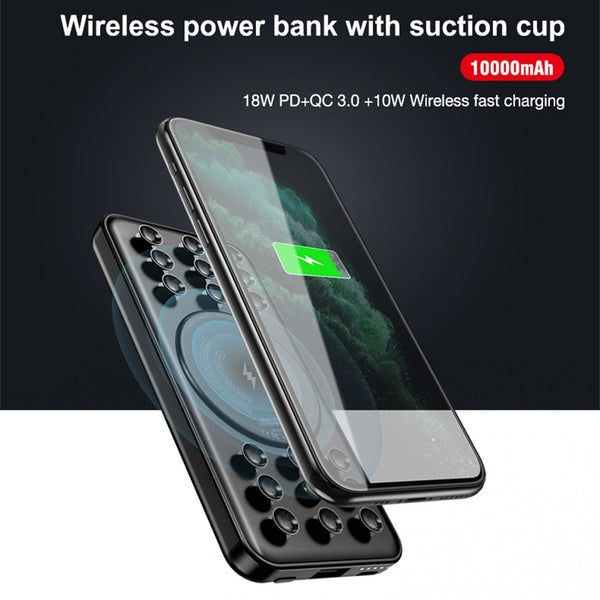 CASEIER 10000mAh Power Bank Qi Wireless Charge USB PD Fast Charging Powerbank With Suction Cup Portable External Battery Pack