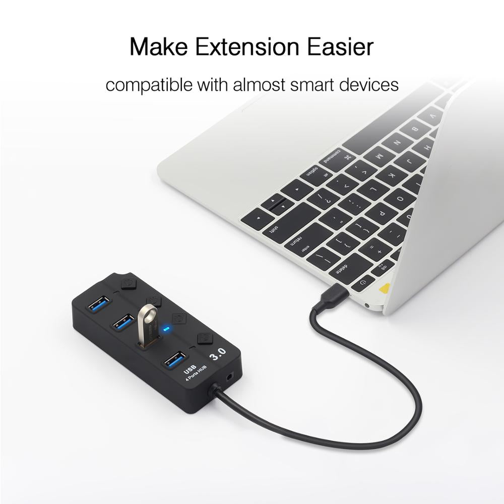 USB Hub High Speed 4 / 7 Port USB 3.0 Hub Splitter On/Off Switch with EU/US Power Adapter for MacBook Laptop PC