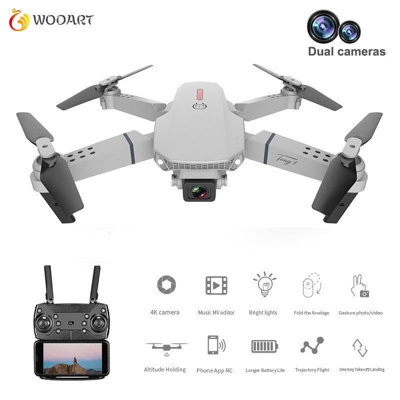 2020 New E88 Drone 4k Hd Dual Camera Visual Positioning 1080p Wifi Fpv Drone Height Preservation Rc Quadcopter Dron Toys For Boy