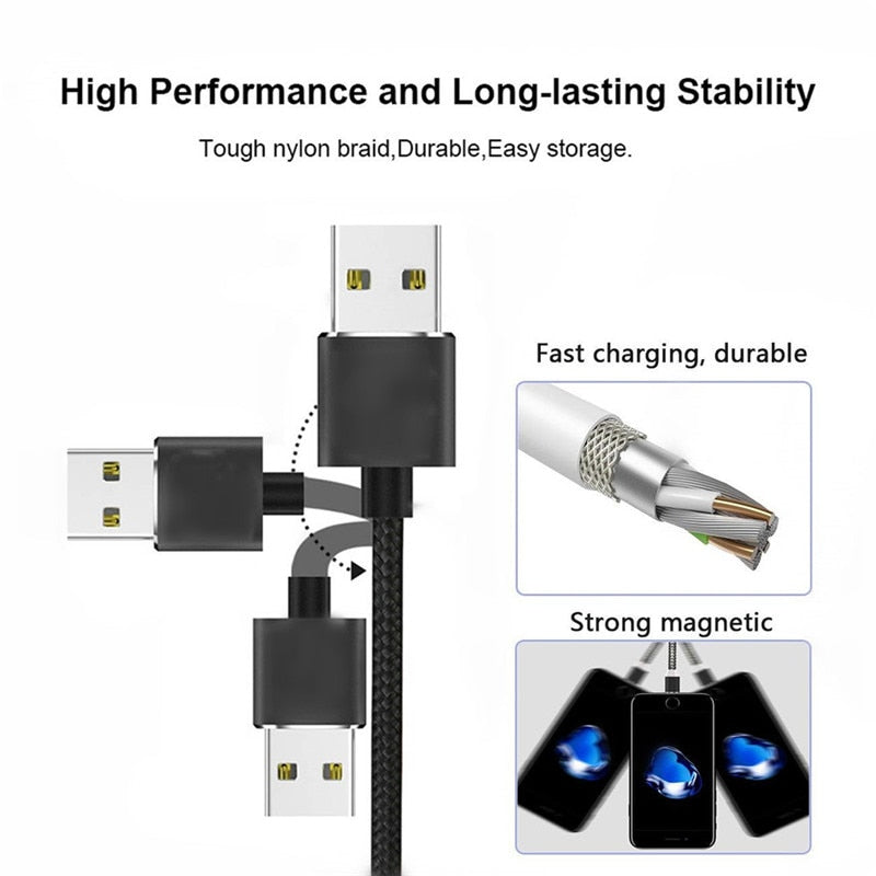 Magnetic Micro USB Type C 1M Cable For iPhone Xiaomi Android Mobile Phone Fast Charging USB Cable Magnet Charger Wire Cord