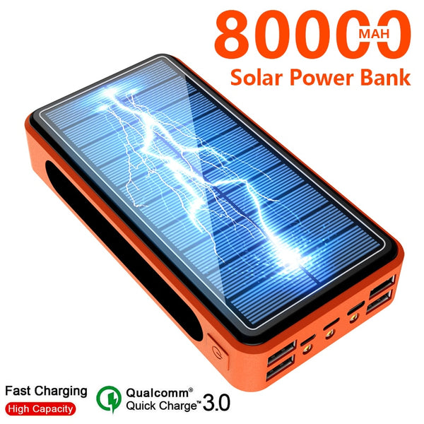 80000mah Portable Solar Power Bank External Charger Fast Charging Four USB PoverBank LED External Battery for Iphone Xiaomi