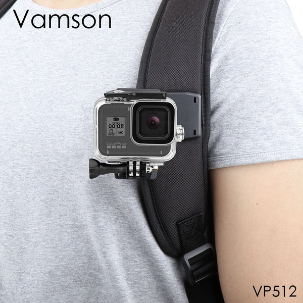 Vamson for GoPro 8 Accessories Backpack Clip Clamp Mount for Go Pro Hero 8 7 6 5 4 for Yi 4K for SJCAM for EKEN Action Camera