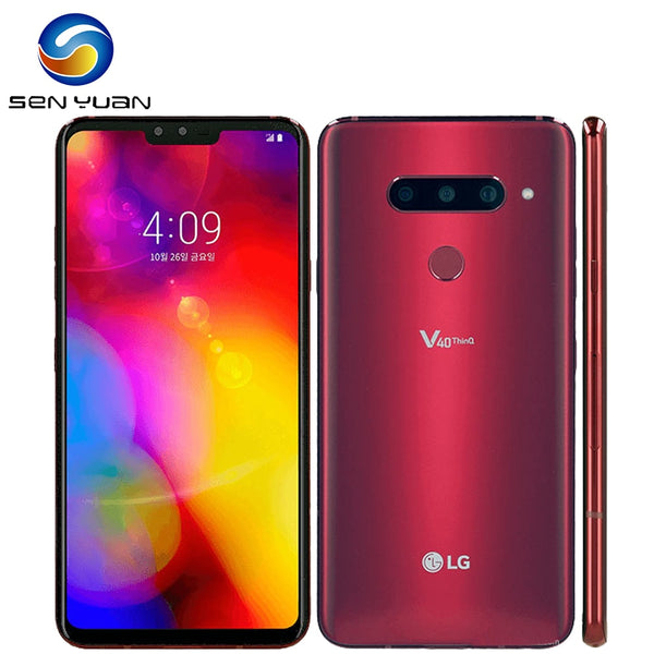 V405EBW Original LG V40 ThinQ 6.4 Inches 6GB RAM 64GB/128GB ROM 16MP Triple Camera LTE Single SIM Fingerprint Unlocked Cellphone