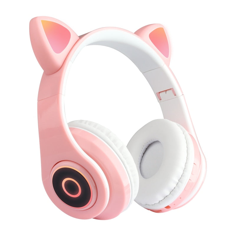 New Cat Ear Bluetooth 5.0 Headset Wireless Hifi Music Stereo Bass Headphones LED Light Mobile Phone Girl Daughter Headset For PC