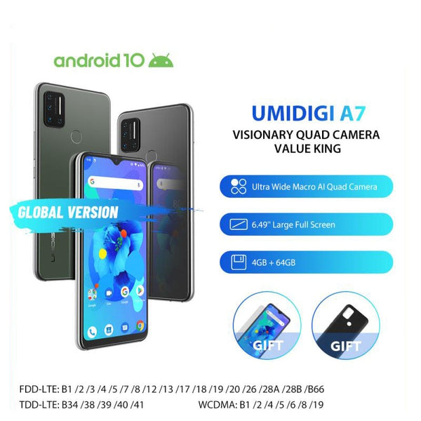 UMIDIGI A7 4GB 64GB Mobile Phone 4150mAh Battery Face ID Fingerprint ID 6.49