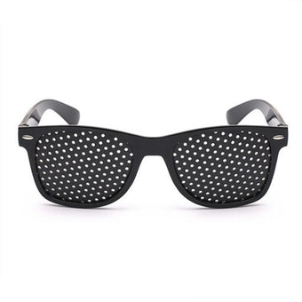 High Quality Anti-myopia Pinholes Glasses Sunglasses Eye Exercise Eyesight Improve Vision Care Eyeglasses Universal Dropshipping (Black)