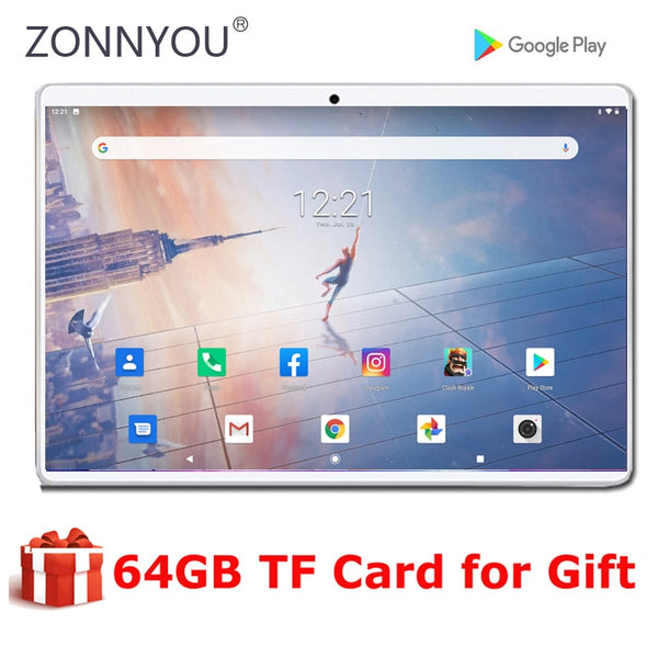 New Ultra Slim 10 inch Tablet PC 2.5D Tempered Glass Screen 32GB ROM IPS 3G Phone WIFI Android 9.0 Tablets + 64GB TF Cards
