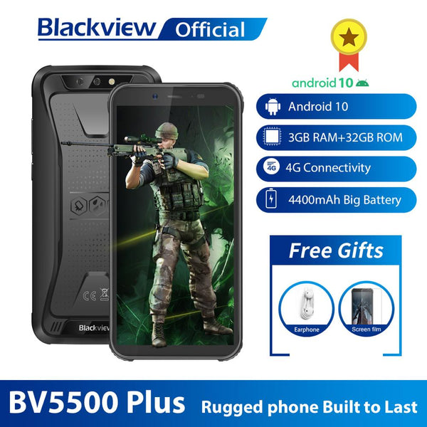 Blackview 2020 New BV5500 Plus IP68 Waterproof 4G Mobile Phone 3GB+32GB Android 10.0 Phone 5.5