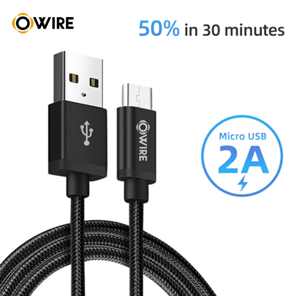 OWIRE 2A Micro USB Cable Fast Charging Micro Data Cable for Samsung/xiaomi/lenovo/huawei/HTC/Meizu