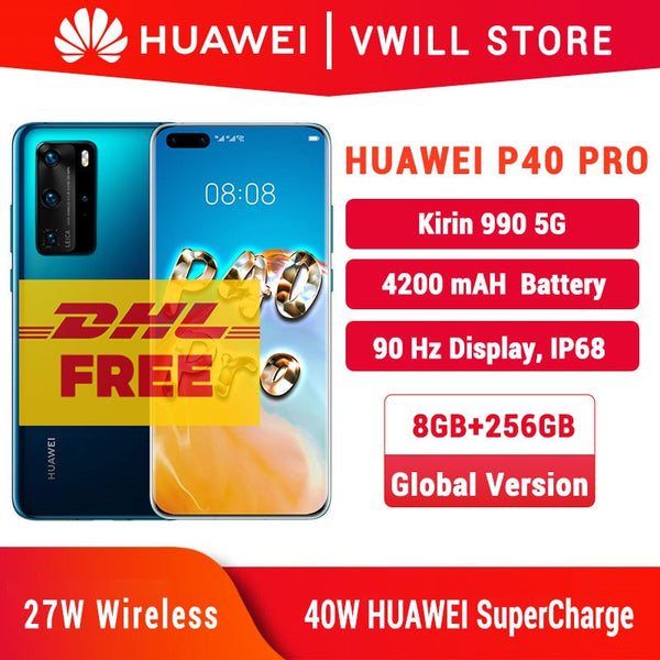 wholesale Global Version Huawei P40 Pro 5G MobilePhone 6.58 '' Kirin 990 8GB 256GB Face unlock Gesture Sensor SA/NSA WiFi 6