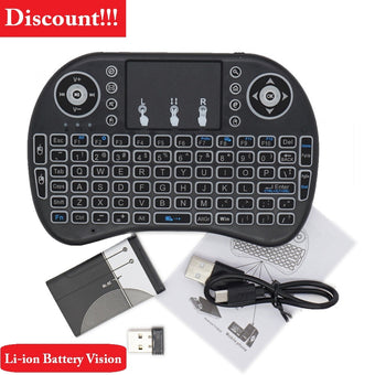 Russian English Keyboard Wireless Mini i8 Keyboard with 7 Backlit and Rechargeable Lithium Battery for TV Notebook Computer