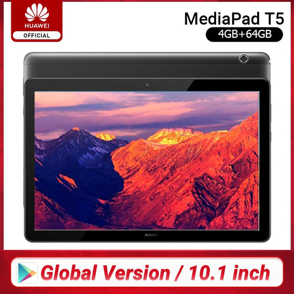 Global Version HUAWEI MediaPad T5 4GB 64GB Tablet PC 10.1 inch Octa Core Dual Speaker 5100 mAh Support microSD Card Android 8.0 (4GB 64GB WIFI Black)