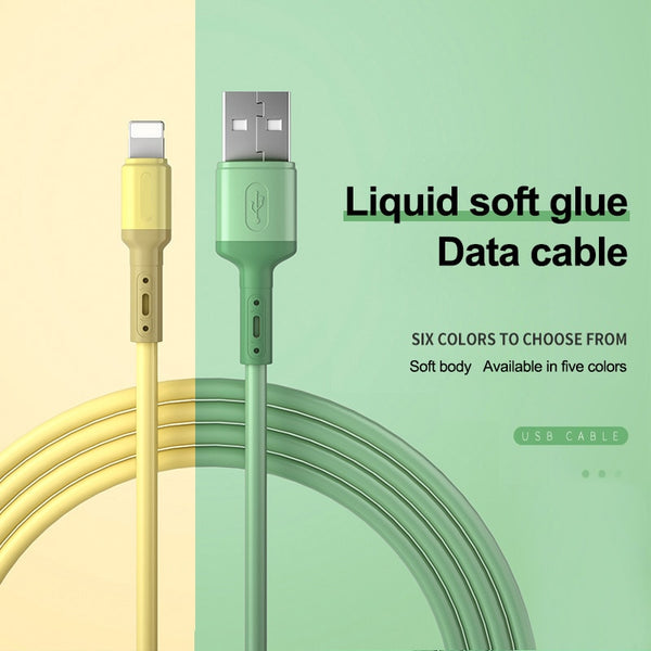 USB Cable For iPhone 11 Pro Max X XR XS 8 7 6 6s 5 5s Fast Data Charging Charger USB Wire Cord Liquid Silicone Cable 1/1.5/2M