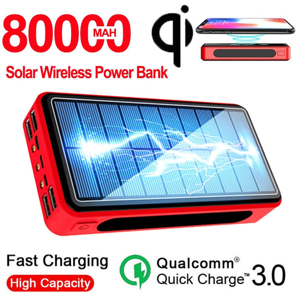 Wireless Solar Power Bank 80000 MAhwith Camping Light 4 USB Portable External Battery Charger Pack For Xiaomi IPhone PoverBank