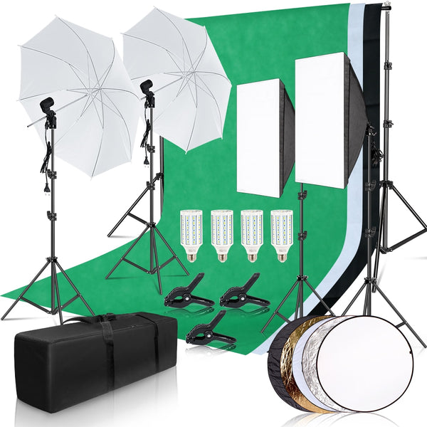Photography Photo Studio Softbox Lighting Kit With 2.6x3M Background Frame 3pcs Backdrops Tripod Stand Reflector Board Umbrella