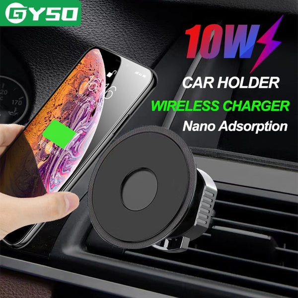 GYSO 10W Fast QI wireless car charger For iPhone 8 Plus X XR XS 11 Pro Max samsung S10 car phone holder wireless charger stand
