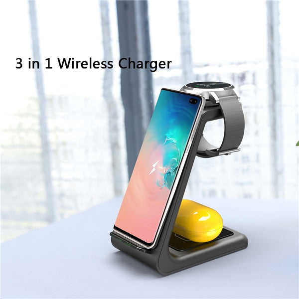 3 in 1 QI Wireless Charger For Samsung iPhone Fast Charger For Samsung Watch Active Galaxy Buds iWatch 1 2 3 4 5 for Airpods Pro