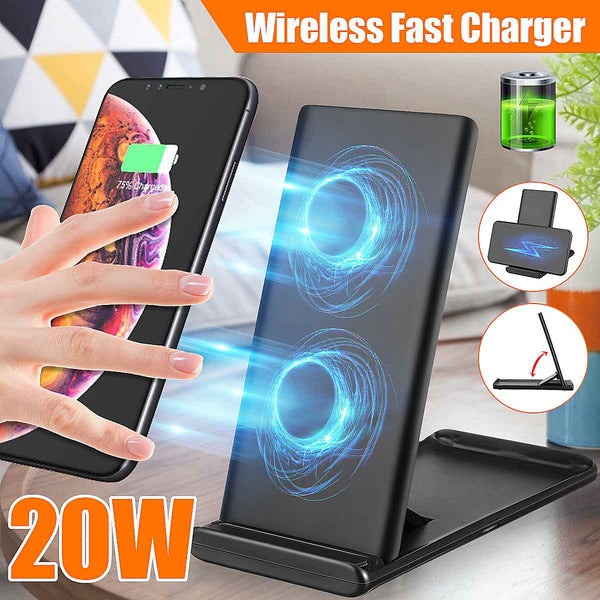 20W Qi Fast Wireless Charger For iPhone 11 X XS MAX XR Quick Charge Wireless Charger Pad For Samsung/Huawei/Xiaomi (Purple)