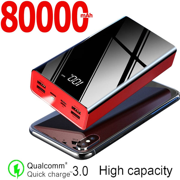 80000mAh Power Bank Large Capacity Portable Charger 4USB External Battery Port Fast Charging Powerbank for Xiaomi Samsung IPhone